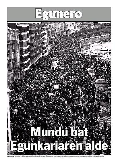 Egunero Egunkariaren aldeko manifestazioaren berri ematen