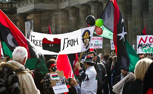 Gaddafiren aurkako protesta bat.