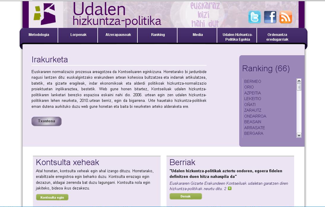 Udalen hizkuntza-politika neurtzeko web berria