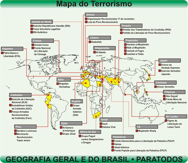 """Munduko """"terrorismoaren"""" mapa"""