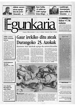 Euskaldunon Egunkariaren lehen azala